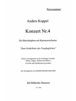Anders Koppel: Concerto No. 4 For Marimba (2006 Version) (Parts) Books | Marimba, String Ensemble, Piano Chamber