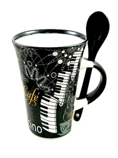 Little Snoring Gifts: Cappuccino Mug With Spoon – Piano (Black)  |