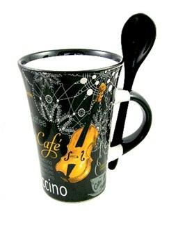 Little Snoring Gifts: Cappuccino Mug With Spoon – Violin (Black)  |