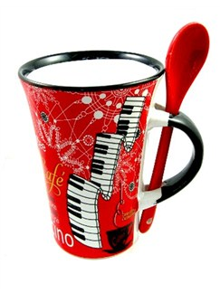 Little Snoring Gifts: Cappuccino Mug With Spoon – Piano (Red)  |