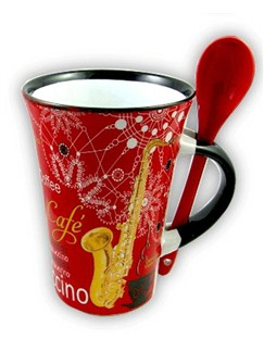 Little Snoring Gifts: Cappuccino Mug With Spoon – Saxophone (Red)  |