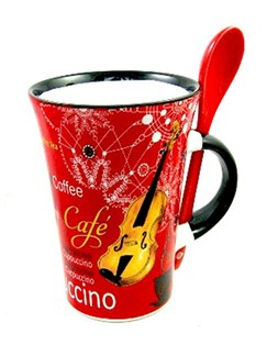 Little Snoring Gifts: Cappuccino Mug With Spoon – Violin (Red)  |