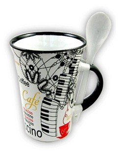 Little Snoring Gifts: Cappuccino Mug With Spoon – Piano (White)  |