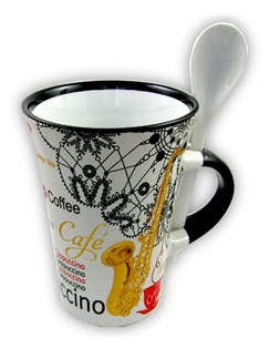Little Snoring Gifts: Cappuccino Mug With Spoon – Saxophone (White)  |