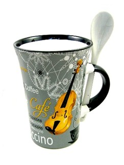Little Snoring Gifts: Cappuccino Mug With Spoon – Violin (Grey)  |