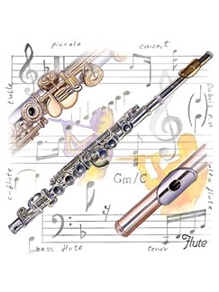 Little Snoring Gifts: Fridge Magnet - Flute  |
