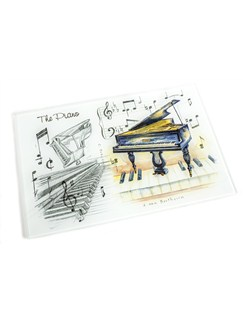 Little Snoring Gifts: Glass Kitchen Board - Piano  |