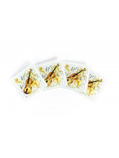 Little Snoring Gifts: Violin Coasters (Glass) - Pack Of Four  |