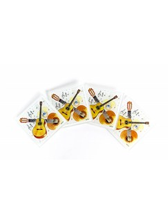 Little Snoring Gifts: Guitar Coasters (Glass) - Pack Of Four  |