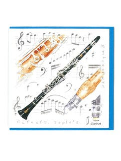 Little Snoring Gifts: Notelets Pack Of Five – Clarinet Design  | Clarinet
