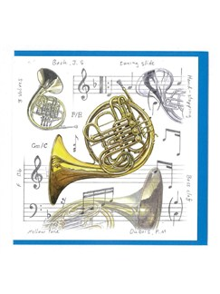Little Snoring Gifts: Notelets Pack Of Five – French Horn Design  | Horn