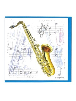 Little Snoring Gifts: Notelets Pack Of Five – Saxophone Design  | Saxophone