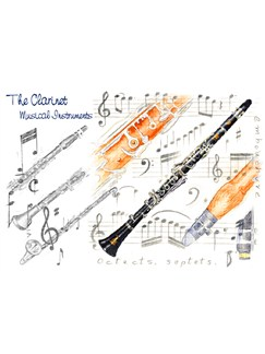 Little Snoring Gifts: 7x5 Greetings Card - Clarinet Design  |