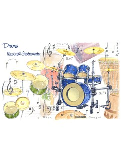 Little Snoring Gifts: 7x5 Greetings Card - Drums Design  |