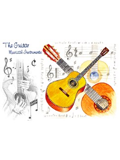 Little Snoring Gifts: 7x5 Greetings Card - Guitar Design  |