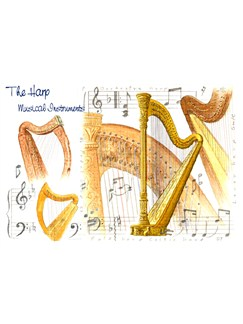 Little Snoring Gifts: 7x5 Greetings Card - Harp Design  |