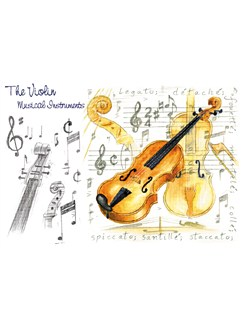 Little Snoring Gifts: 7x5 Greetings Card - Violin Design  |