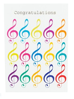 "Little Snoring: 7"" x 5"" Congratulations Card - Jazzy Treble Clef Design  