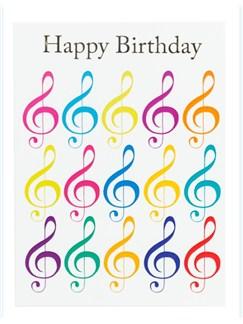"Little Snoring: 7"" x 5"" Happy Birthday Card - Jazzy Treble Clef Design  |"