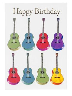 "Little Snoring: 7"" x 5"" Happy Birthday Card - Jazzy Acoustic Guitar Design  