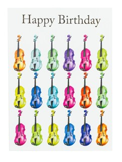 "Little Snoring: 7"" x 5"" Happy Birthday Card - Jazzy Violin Design  