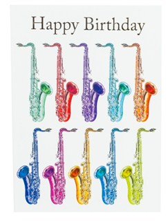 "Little Snoring: 7"" x 5"" Happy Birthday Card - Jazzy Saxophone Design  