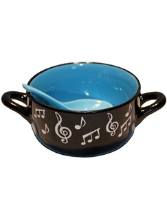 Little Snoring Gifts: Music Note Bowl With Spoon - Blue  |