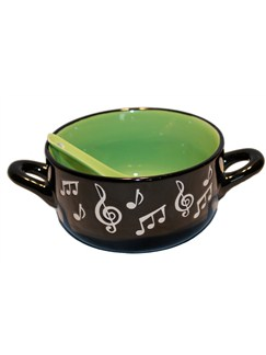 Little Snoring Gifts: Music Note Bowl With Spoon - Green  |