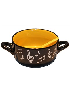 Little Snoring Gifts: Music Note Bowl With Spoon - Yellow  |