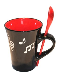 Little Snoring Gifts: Music Note Mug With Spoon - Red  |
