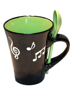 Little Snoring Gifts: Music Note Mug With Spoon - Green  |