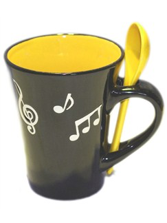 Little Snoring Gifts: Music Note Mug With Spoon - Yellow  |