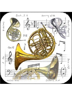 Little Snoring Gifts: French Horn Coasters - Pack Of 4  |