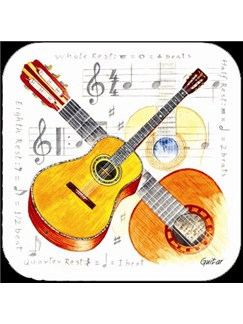 Little Snoring Gifts: Guitar Coasters - Pack Of 4  |