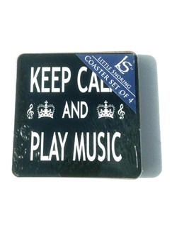 Little Snoring Gifts: Keep Calm And Play Music Coasters - Pack Of Four  |
