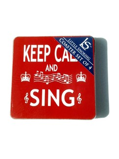 Little Snoring Gifts: Keep Calm And Sing Coasters - Pack Of Four  |