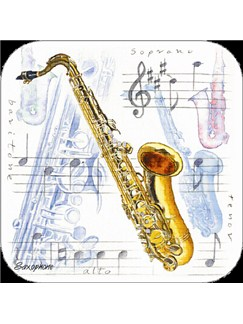 Little Snoring Gifts: Saxophone Coasters - Pack Of 4  |