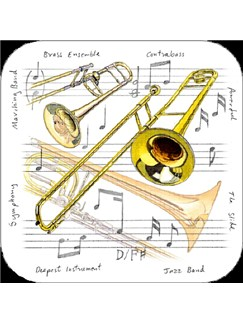 Little Snoring Gifts: Trombone Coasters - Pack Of 4  |