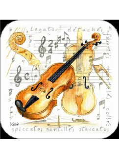 Little Snoring Gifts: Violin Coasters - Pack Of 4  |