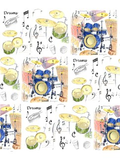 Little Snoring Gifts: Gift Wrap - Single 70 x 50cm Sheet (Drums Design)  |