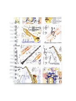 Little Snoring Gifts: A6 Hardback Spiral Bound Notebook - Musical Instruments  |