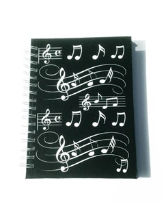 Little Snoring Gifts: A6 Hardback Spiral Bound Notebook – Black With White Musical Notes  |