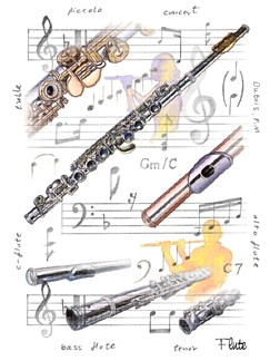 Little Snoring Gifts: 7x5 Greetings Card - Flute Design  |