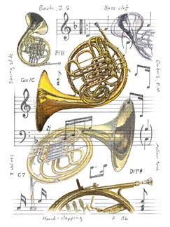 Little Snoring Gifts: 7x5 Greetings Card - French Horn Design  |
