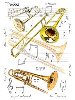 Little Snoring Gifts: 7x5 Greetings Card - Trombone Design  |