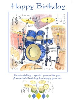 Little Snoring Gifts: 7x5 Happy Birthday Card - Drums Design  |