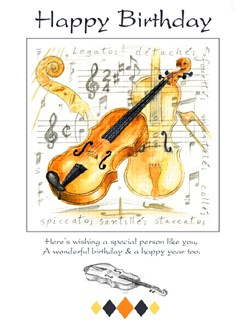 Little Snoring Gifts: 7x5 Happy Birthday Card - Violin Design  |