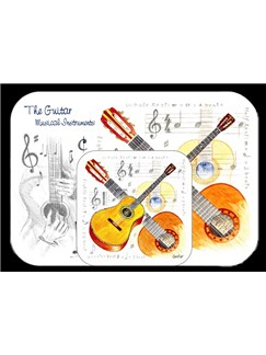 Little Snoring Gifts: Placemat And Coaster Set - Guitar  |