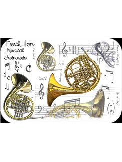 Little Snoring Gifts: French Horn Placemat - Pack Of 4  |