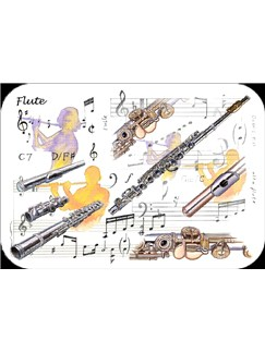 Little Snoring Gifts: Flute Placemat - Pack Of 4  |